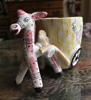 Lefton's Donkey & Cart Vintage Planter/Flower Vase Japan MINT! A: La Picasso!
