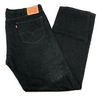 Levi's 505 Denim Jeans Mens 40X34 Black Regular Fit Straight 100% Cotton Washed