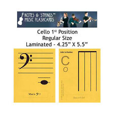"Cello 1st Position 4.25x5.5"" Laminated Music Flashcards"