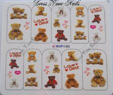 Water Decals Teddy Bears - Teddies - Hearts Nail Stickers  3d Bling BOP-182 -UK