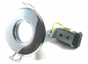 IP65 BATHROOM SHOWER DOWNLIGHTS MAINS 240V GU10  ZONE 1 2 3 WHITE CHROME