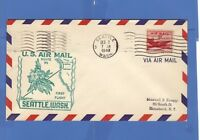U S AIR MAIL FIRST FLIGHT COVER SEATTLE TO HONOLULU 1948 ROUTE 95 AIRLINER STAMP