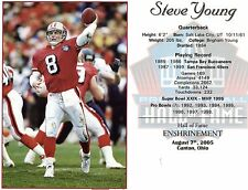 "ThisSteve Young - San Francisco 49ers  Hall of Fame Induction 8"" x 10"" Supercard"