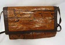 VINTAGE BROWN PYTHON SNAKESKIN LEATHER CONVERTIBLE CLUTCH SHOULDER BAG