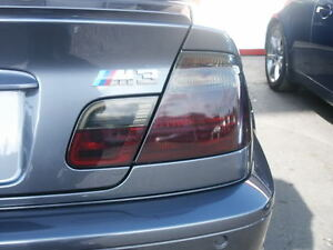 00-06 BMW M3 coupe 3 Series tinted smoked vinyl tint film overlay tail light E46