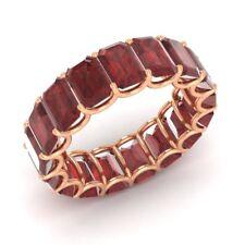 Certified 12.72 Ctw Emerald Cut Garnet 18k Rose Gold Full Eternity Band Ring