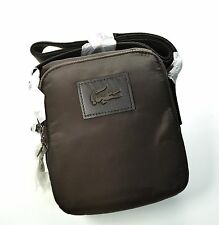 LACOSTE Vertical Camera Cross-body Bag Chocolate Brown Nylon
