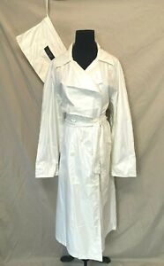 Sanyo Carol Cohen Trench Raincoat size S fits L Packable w Pouch Off White CJ7