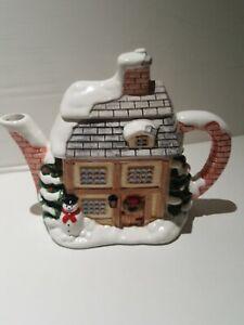 Annie Rowe Villiage Tea Shop Novelty Teapot Cookie Jar