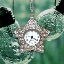 Miniature Shining Rhinestones Star Pendant Necklace Mini Pocket Watches Gifts