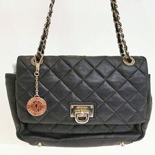 DKNY Quilted Nappa Leather Large Flap Pocket Crossbody Handbag Black 251724