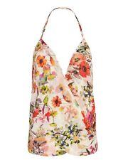 Chelsea Flower Women's Multi Color Floral Halter Tank (S) Top Blouse Bustier