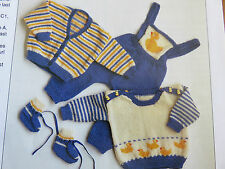 baby knitting pattern jumpers cardigan& overalls 5 ply 3 months to 2 years