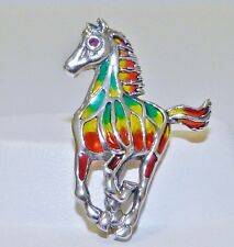 GENUINE! 0.03cts! African Ruby, Bold Enamel Horse Brooch Sterling Silver 925.