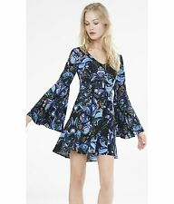 EXPRESS 6 BLACK BLUE PAISLEY PRINT DRESS v-neck bell sleeves small