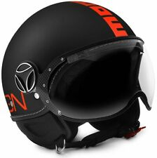 MOMO DESIGN FIGHTER CLASSIC JET HELMET MATT BLACK - FLUO ORANGE SIZE M