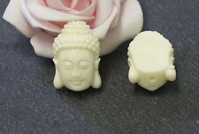 5 perles tête de Bouddha en corail synthétique, 15,5mm, blanc