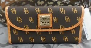 Dooney & Bourke ~Continental Signature Trifold Clutch Wallet~BROWN~TAN~NWT $148