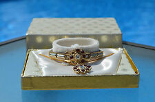 1960's costume jewelry bracelet and neckless set in box Red Stone #EE