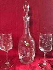 Vintage Etched Crystal Decanter & 6 Matching Wine Glasses Set, Floral Design