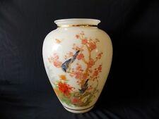 Vintage Japanese Chinese Asian Glass Vase Painted Flowers Mockingbirds