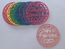 10 NEW CIRCLE BUTTERFLY 'HAPPY BIRTHDAY' GLITTER CARD TOPPERS.