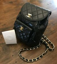 CHANEL Quilted Black Lambskin CC Gold Tone Hardware Heavy Chain Vintage Backpack