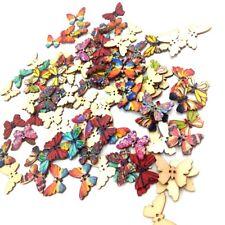 100 pezzi bella farfalla bottoni in legno Scrapbooking decorazione di cucito