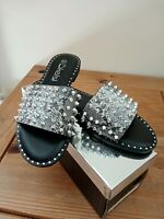 Kelsi Black/Grey Snake Slider With Studs True To Size Brand New Size 8/41