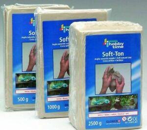 Soft-Ton, Modelliermasse weiss, lufthärtend/brennbar 1040° 500g