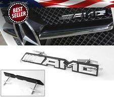 "7.48"" x 0.98"" Bolt On ABS AMG Chrome Black Grill Grille Emblem Decal Logo Badge"