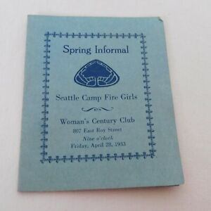 Seattle Camp Fire Girls Spring Informal Dance Card Womans Century Club 1933 Used