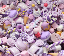 20 pcs mixed Wholesale Lot Lavender Color Cute Kawaii Flatback Resin Cabochons