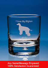 More details for afghan hound whisky glass dog gift personalised engraved whiskey tumbler gift