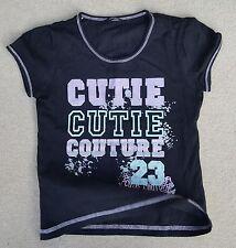 GEORGE Kids Girls Black Cutie Couture Short Sleeve T Shirt 100% Cotton 5-6 Yrs
