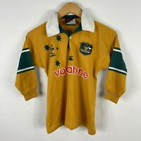 VINTAGE Canterbury Australian Wallabies Rugby Jersey Boys Size 8 Long Sleeve