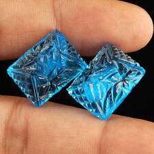 50.40 Cts/2 Pcs Certified Natural Swiss Blue Topaz Priceless Moghul Carved Gems