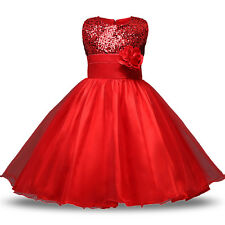 Paillette Girls Princess Dress Party Wedding Pageant Formal Lace Tutu Dresses