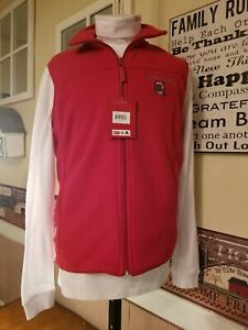 OHIO STATE BUCKEYES Colosseum Athletics Full Zip Red Fleece Vest and turtleneck