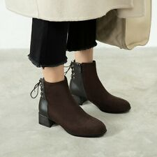 Ladies Casual Ankle Boots Square Toe Chunky Low Heel Womens Suede Bootie Shoe Sz