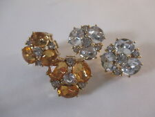 Banana Republic Callie Stud Earrings Clear  NIP $45 Set of 2 Clear & Yellow