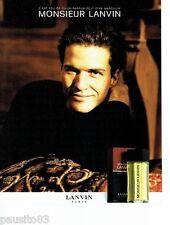 PUBLICITE ADVERTISING 116  1989  Lanvin parfum pour homme  Monsieur