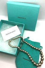 SIGNED TIFFANY & CO. 925 STERLING SILVER GRADUATED BEAD NECKLACE W/ BOX & POUCH