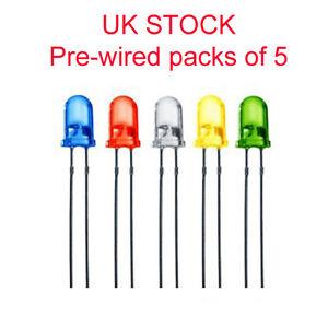 12v, 9v, 6v 5v Pre-Wired 5mm LED's Various Colours Pack of 5