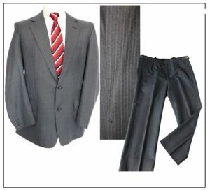 """All Wool Vintage 1970s Bespoke mens 2 piece suit Ch42""""S W40"""" L28"""" Grey Stripe"""