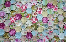 NEW TILDA 100 patchwork hexagons mixed green pink blue tacked cushion/charm