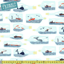 Dear Stella Fabric Dark And Stormy Hook Line And Sinker White PER METRE Jaws Sea