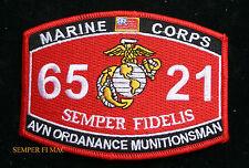MOS 6521 AVIATION ORDNANCE MUNITIONS MAN PATCH US MARINES IRAQ PIN UP MAW MCAS