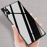 For iPhone XS Max XR X 8 7 6s Plus Luxury Square Tempered Glass Phone Case Cover