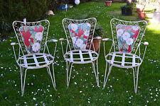 3 alte Gartenstühle mit Armlehnen°°°Metall°°°Shabby Chic°°°unrestauriert°°°